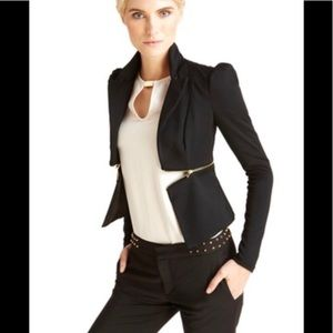 Black blazer with front zipper detail